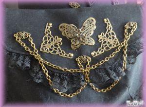 Black Gothic Steam Butterfly Pochette