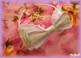Mint-White Ribbon Headband