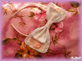 Peach-White Ribbon Headband